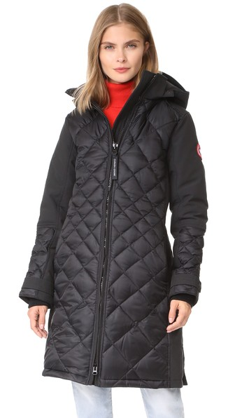 05422f6dfc327 Canada Goose Diamond-Quilted Hooded Cabot Parka Jacket In Black ...