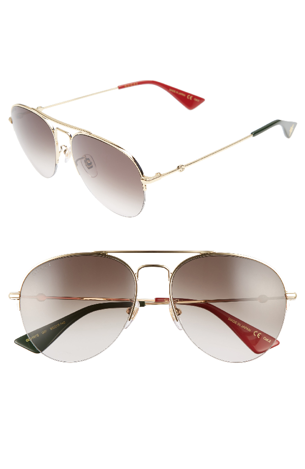 4337be87c2 Gucci Pilot 56Mm Aviator Sunglasses - Gold  Brown