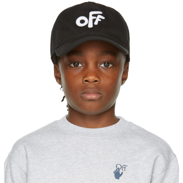 Off-white Boys Black Kids Logo-embroidered Cotton Cap 6-10 Years 8-10 Years In Black/white