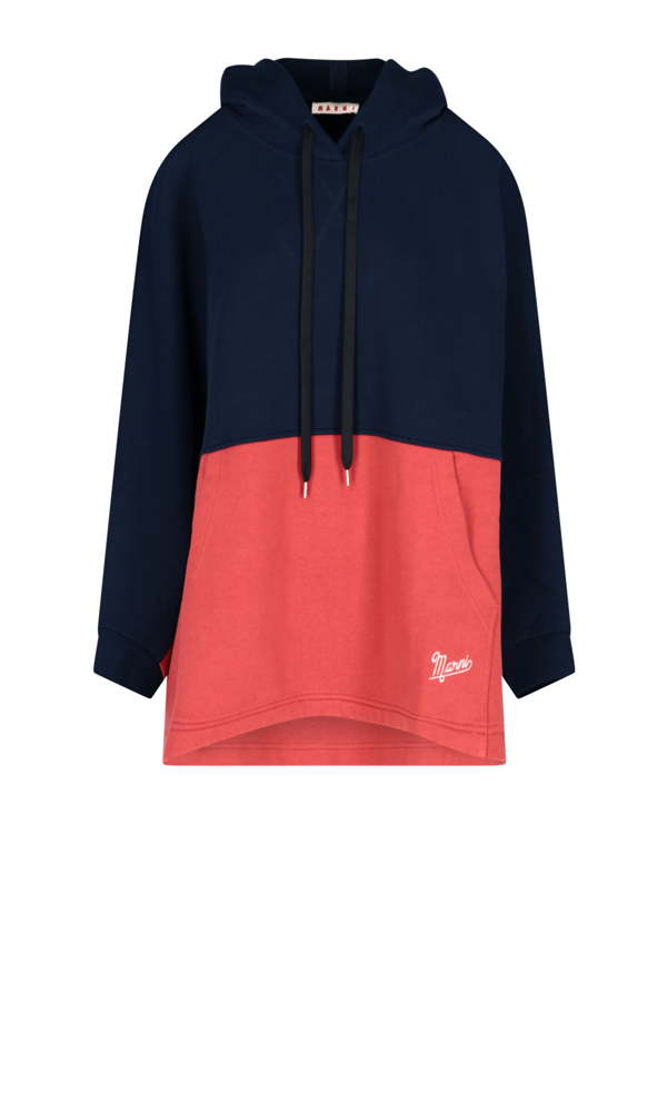 Marni Colour-block Hoodie In Blue And Red