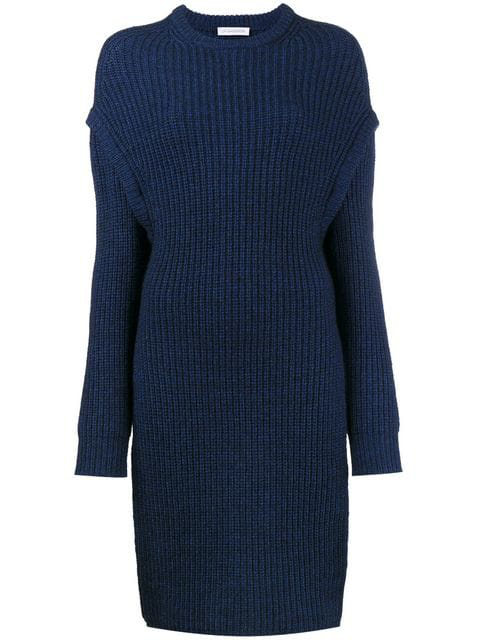 Jw Anderson Oversized Slit Side Knitted Jumper In Blue