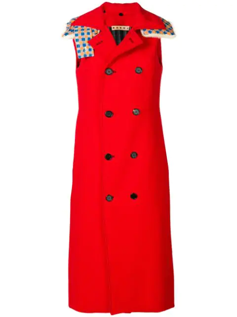 Marni Hooded Sleeveless Double Breasted Coat In 00R64