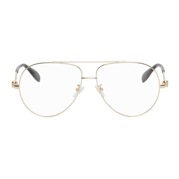 Alexander Mcqueen Gold Aviator Glasses In 001 Gold
