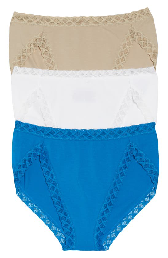 Natori Intimates Bliss French Cut Briefs 3 Pack Panty In Sandcastle/ Blue/ White