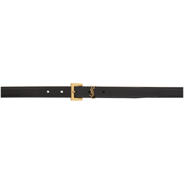 Saint Laurent Black Square Monogramme Belt In 1000 Black