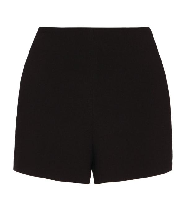 Valentino Womens Black High-rise Wool And Silk-blend Shorts 8