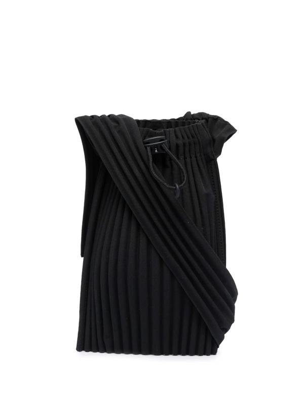 Pleats Please Issey Miyake Pleated Messenger Bag In Black