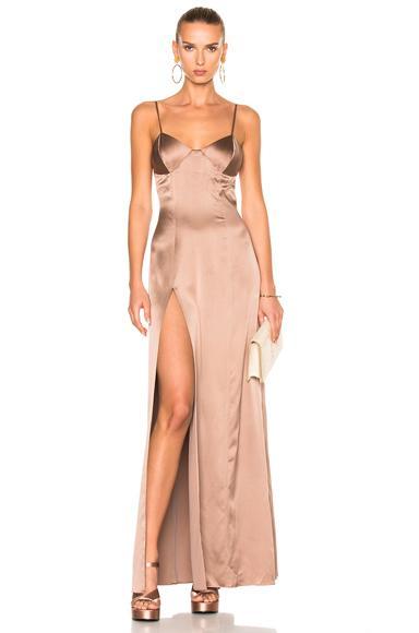 Michelle Mason X Fwrd Exclusive Bustier Gown In Neutrals,Pink