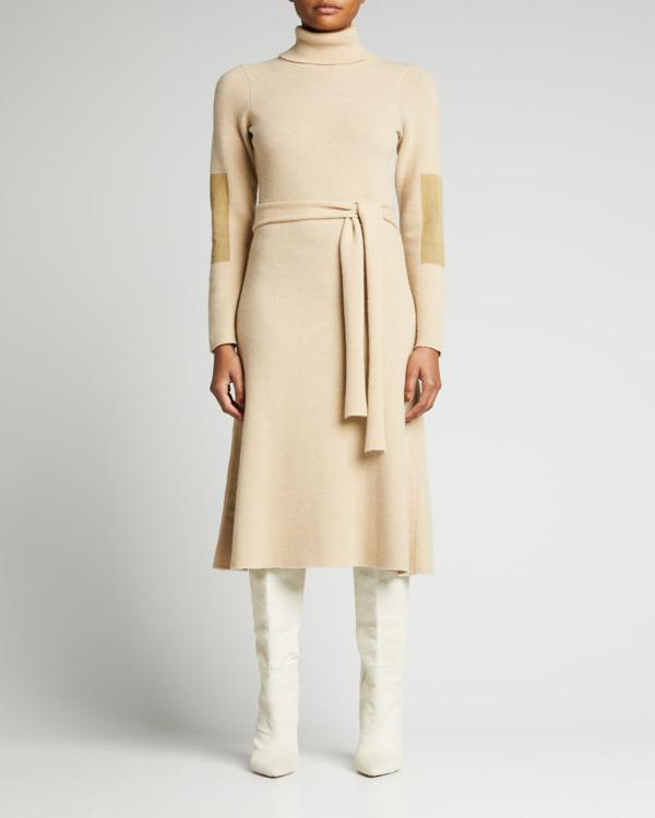 Victoria Beckham Turtleneck Belted Midi Dress In Vanilla/olive