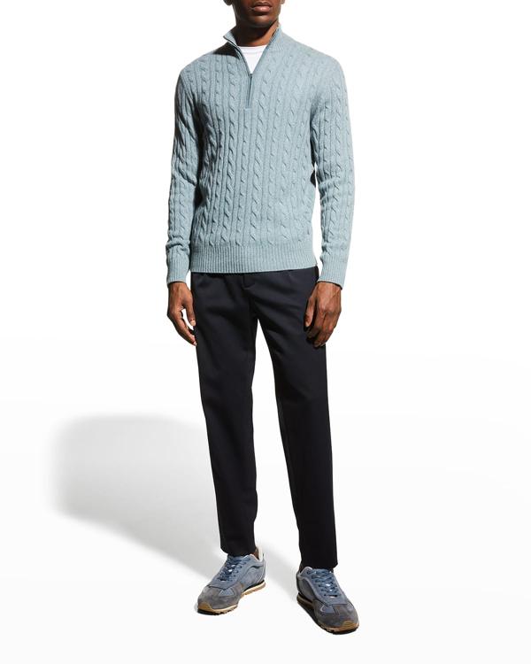 Loro Piana Cashmere Cable-knit Sweater In J0p0 Tempesta Sky