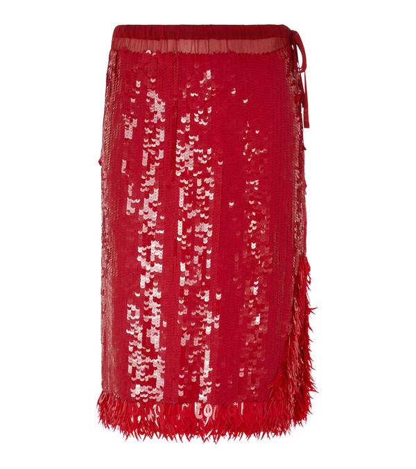 Dries Van Noten Scilla Sequin Pencil Skirt In 352 Red