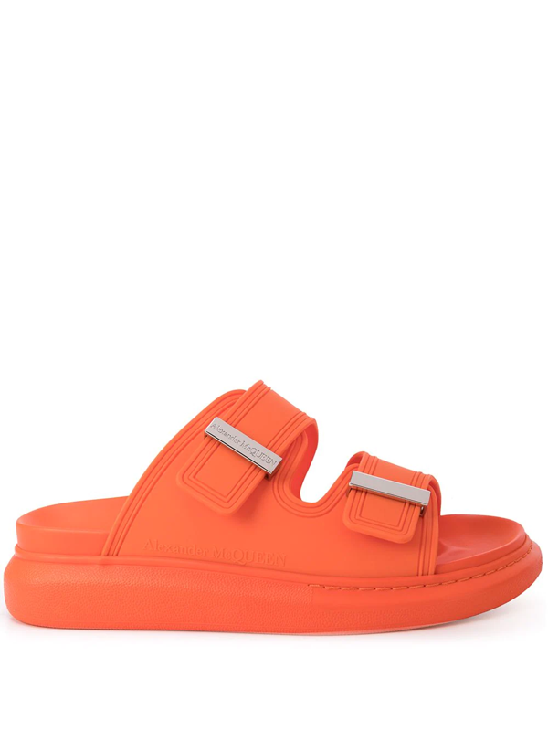 Alexander Mcqueen Fabric Upper And Rubber Slides In Orange