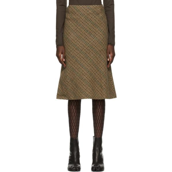 Maison Margiela Beige Wool Houndstooth Straight Skirt In Clay/brown