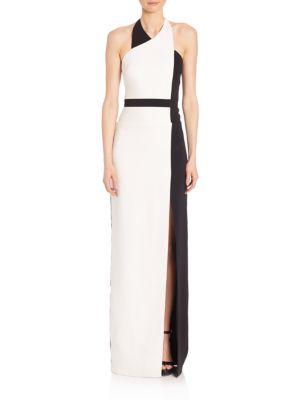 ba50db535214 Badgley Mischka Halter-Neck Colorblock Column Gown, Black/Light Ivory,  Black Light