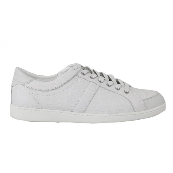 Dolce & Gabbana White Caiman Crocodile Sneaker Shoes