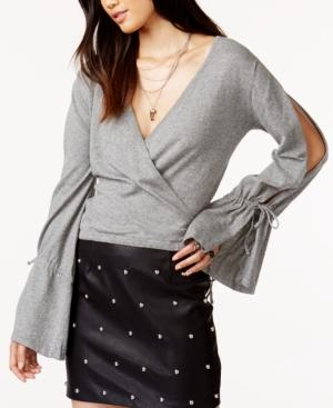 Minkpink Chateau Cotton Wrap Sweater In Grey Marle