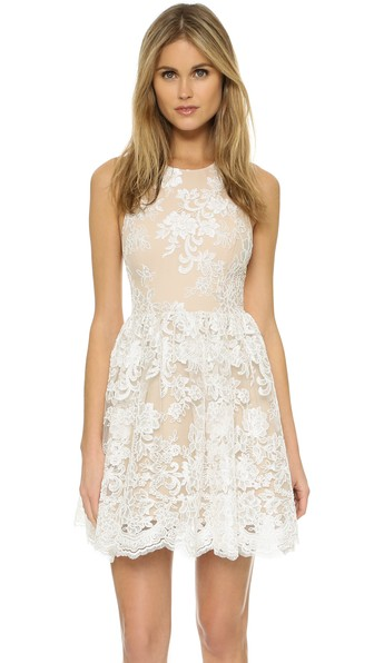 ab80a041b5db Alice And Olivia 'Ladonna' Floral Embroidery Racerback Party Dress In Off  White