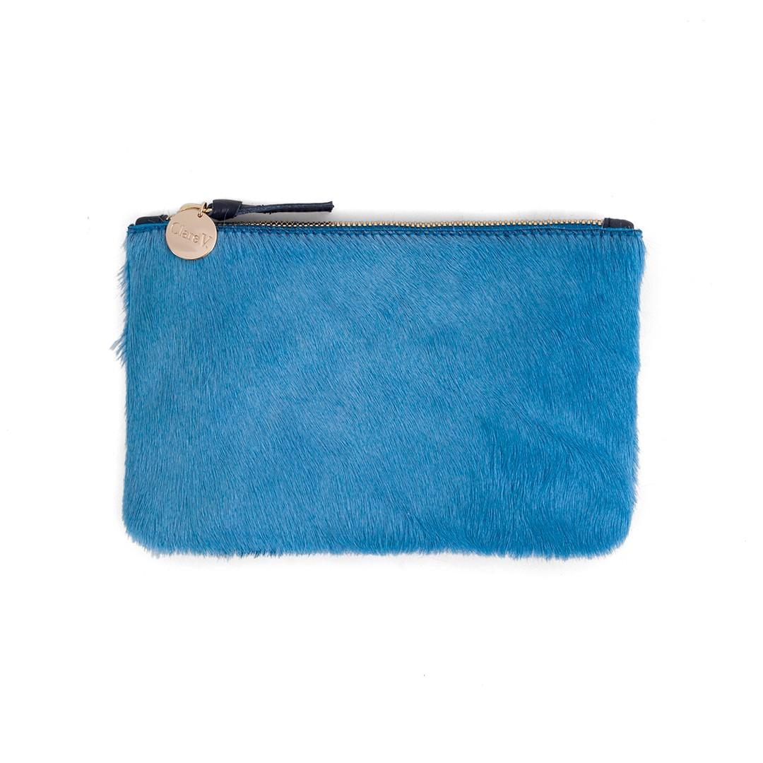 Clare V Wallet Clutch In Blue Hair-on