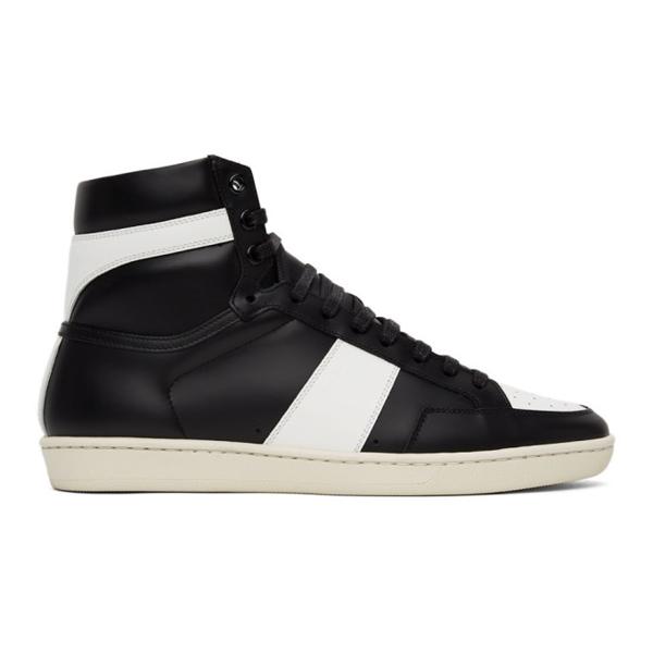 Saint Laurent Black & White Sl/10 Court Classic High Sneakers In 1090 Black/optic Whi