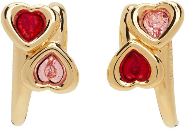 Jiwinaia Swarovski Crystal Heart Earrings In Pink/ Red/ Gold