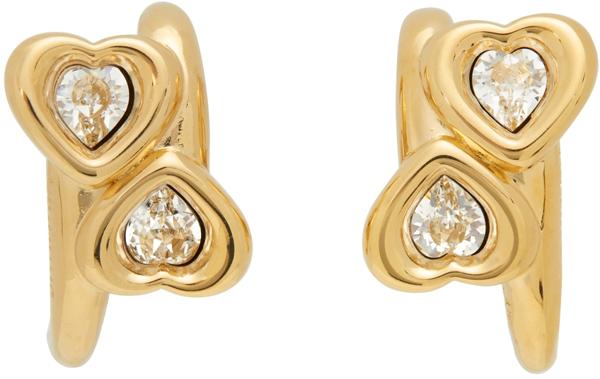 Jiwinaia Swarovski Crystal Heart Earrings In White/ Gold