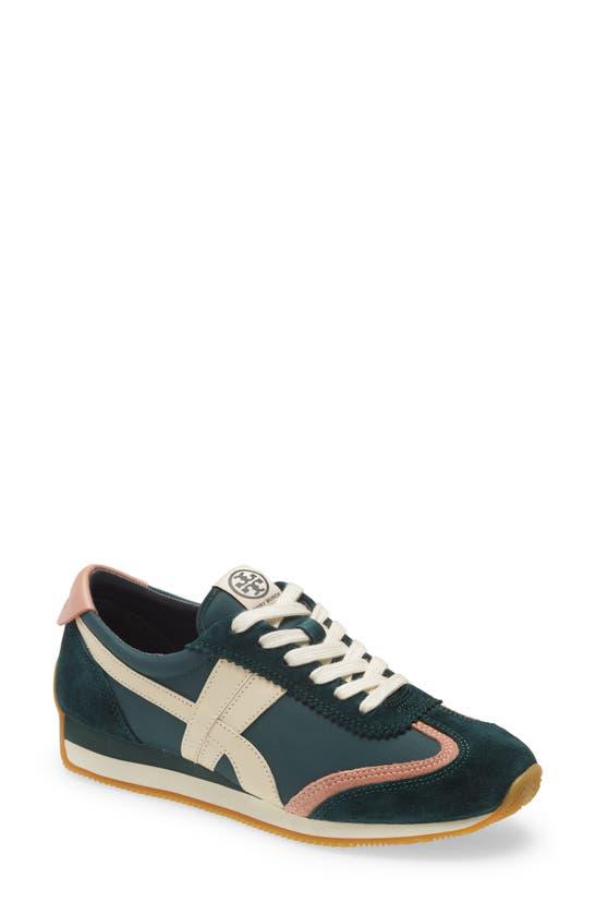 Tory Burch Hank Sneakers In Green Canvas In Bottle Green / Pink Moon