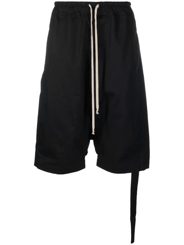Rick Owens Drop-crotch Cotton Shorts In Schwarz