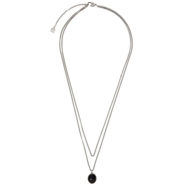Alexander Mcqueen Mens Silver Black Double-layer Brass Pendant Necklace