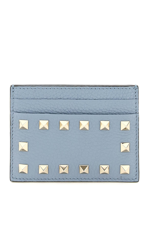 Valentino Garavani Rockstud Card Holder In Blue