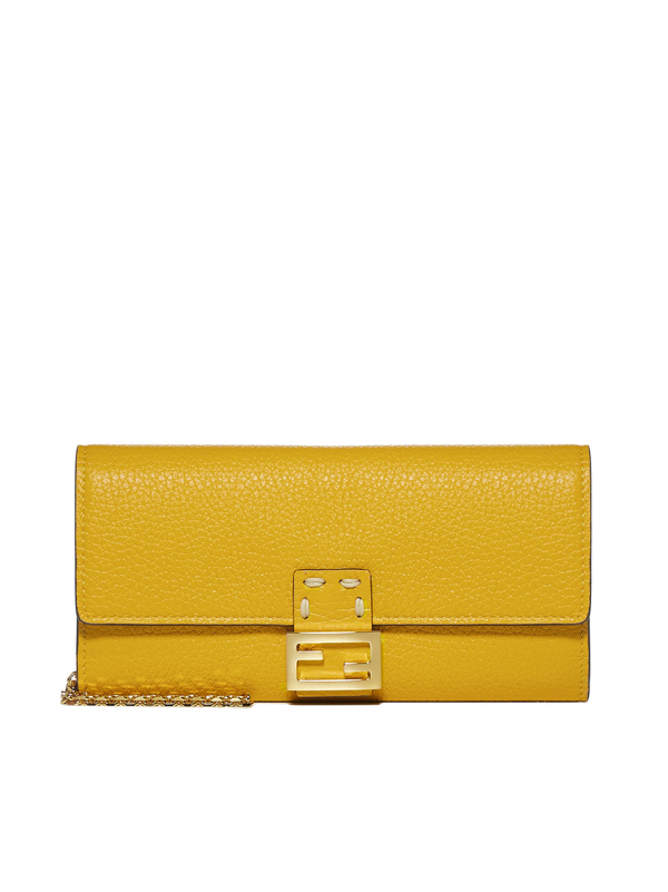 Fendi Ff Logo-plaque Leather Chain Wallet Bag In Yellow