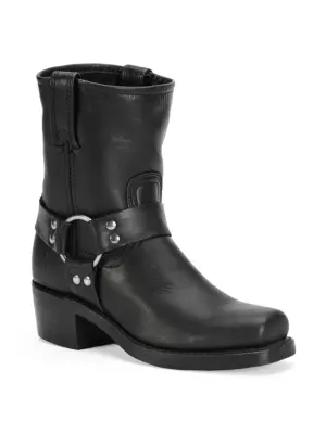 Frye Harness Square Toe Engineer Boot In Black
