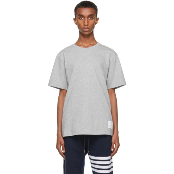 Thom Browne Grey Relaxed-fit Side Slit T-shirt In 055 Lt Gry