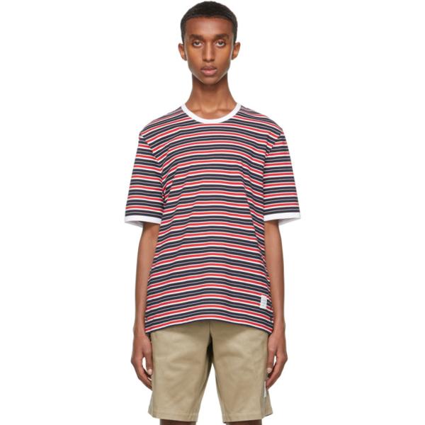 Thom Browne Multicolor Bar Stripe Ringer T-shirt In 960 Rwbwht
