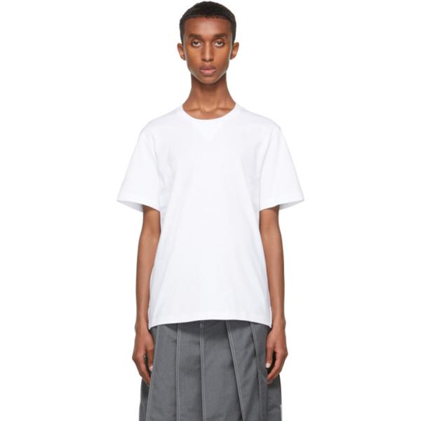 Thom Browne White Gusset Rwb Tipping Stripe T-shirt In 100 White
