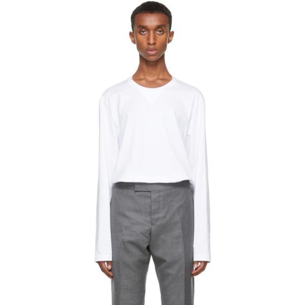 Thom Browne White Gusset Rwb Tipping Stripe Long Sleeve T-shirt In 100 White