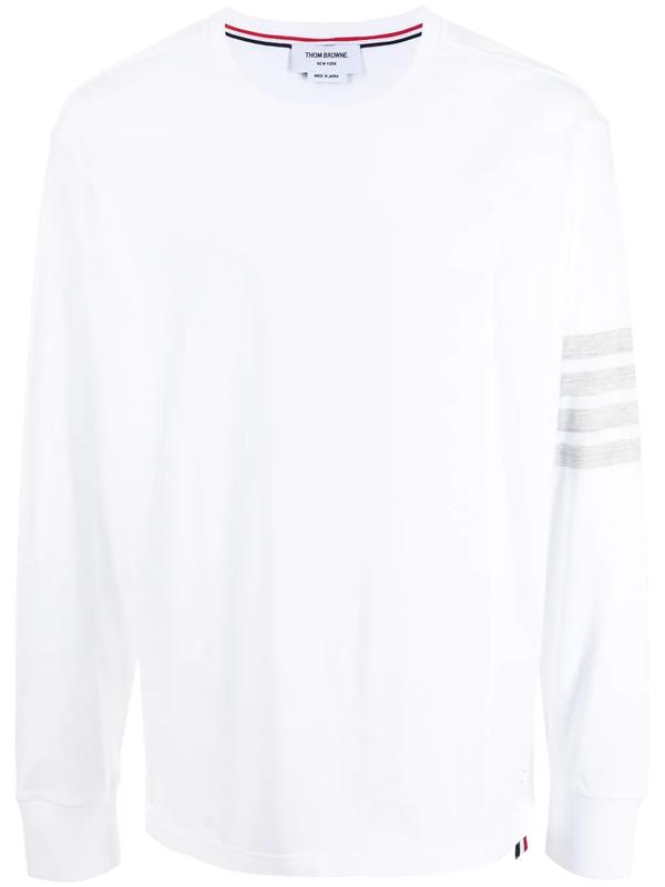 Thom Browne White Engineered 4-bar Long Sleeve T-shirt