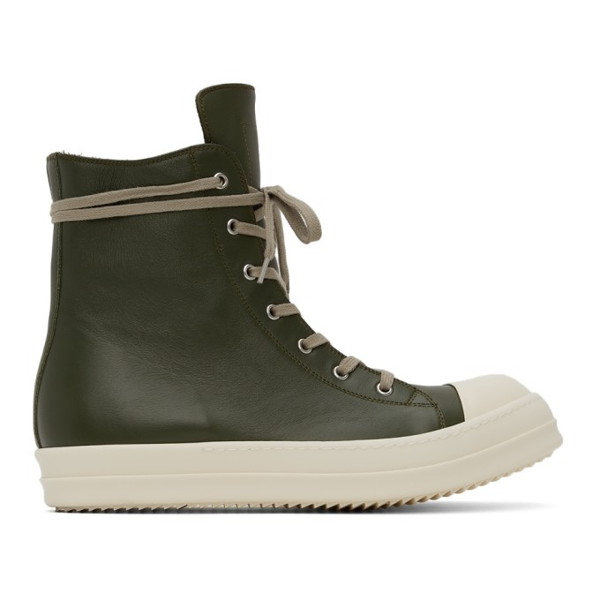 Rick Owens Green Calfskin High Sneakers In 15111 Grn/mlk/mlk