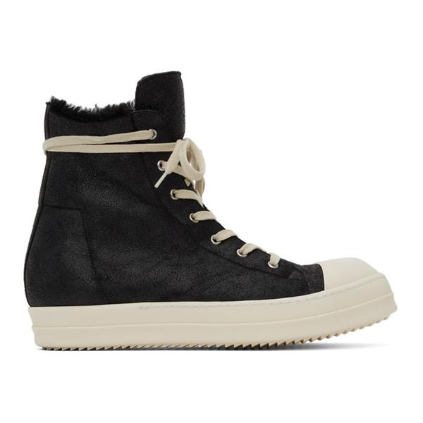 Rick Owens Black Shearling High Sneakers In 99111 Blk/blk/milk