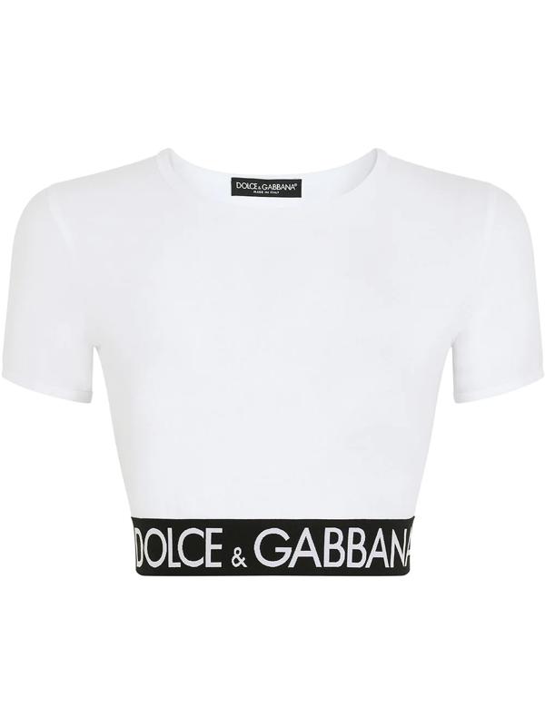 Dolce & Gabbana Logo Waistband Cropped T-shirt In White