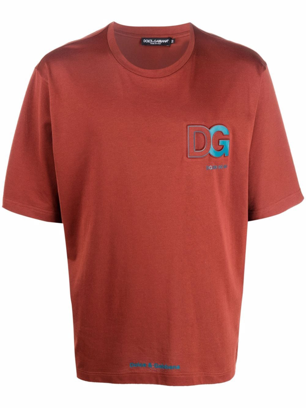 Dolce & Gabbana Logo-embossed T-shirt In Rot