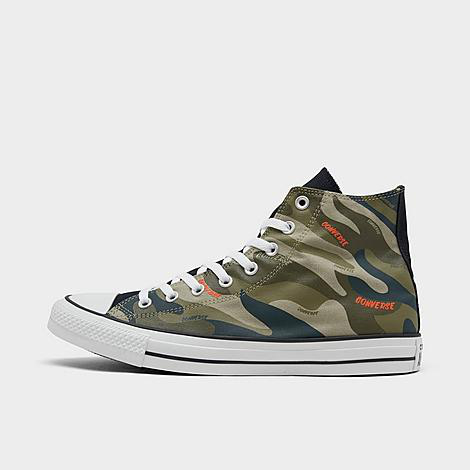 Converse Men's Chuck Taylor 70 Hybrid Camo High Top Casual Sneakers From Finish Line In Olive/orange Camo