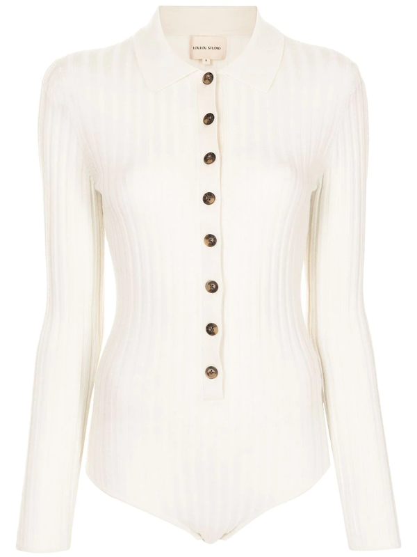 Loulou Studio Ribbed-knit Button-front Body In White