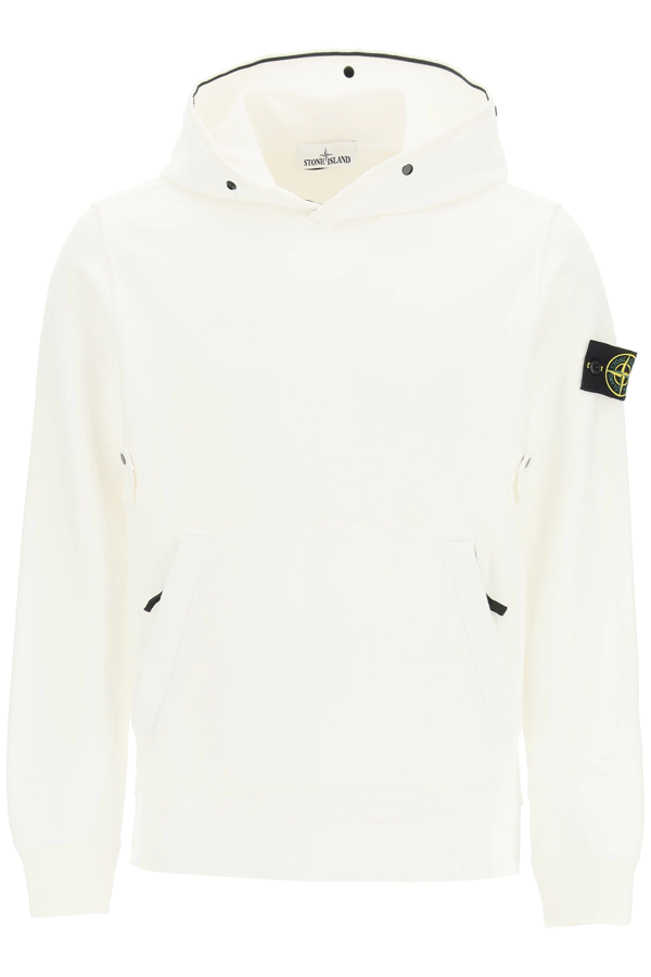 Stone Island Sweatshirt With Cuffed Hood In Mixed Colours