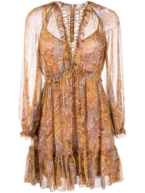 Zimmermann Concert Lace-up Paisley-print Dress In 中性色
