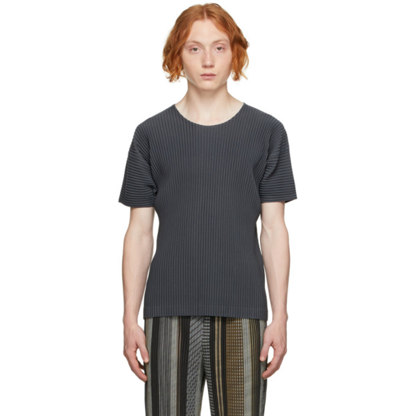 Pleats Please Issey Miyake Grey Monthly Color July T-shirt In 14-charcoal Gray