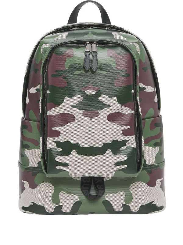 Burberry Camouflage-print Backpack In Grün