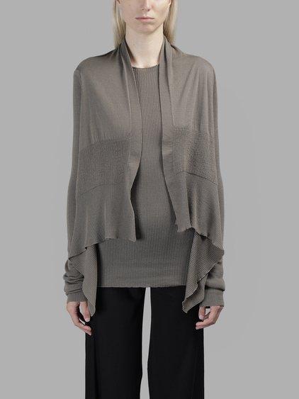 Rick Owens Women's Grey Short Wrap Knitwear
