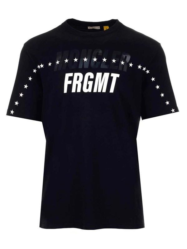 Moncler Man Black Over Fit Frgmt T-shirt With Stars