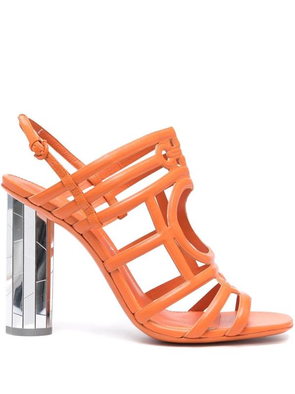 Salvatore Ferragamo Mirrored Heel Strappy Sandals In Orange