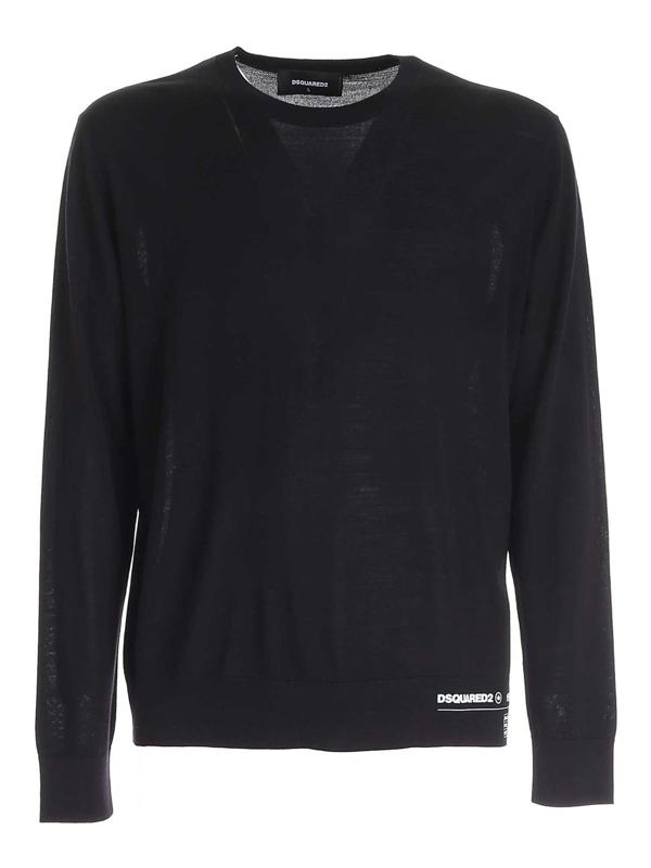 Dsquared2 Hem Logo Sweater In Black